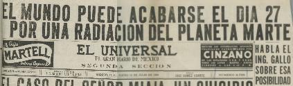 EL MUNDO PODRÍA ACABARSE EL DÍA 27 POR RADIACIÓN DE MARTE afirma reconocido periódico de circulación Nacional